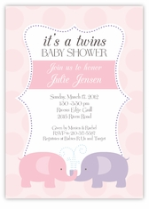 Elegant Elephants Twin Girls Baby Shower Invitation