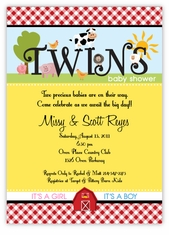 Fanciful Farm Barnyard Animals Girl Boy Twins Baby Shower Invitation