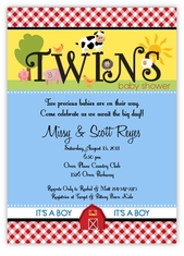 Fanciful Farm Barnyard Animals Twin Boys Baby Shower Invitation