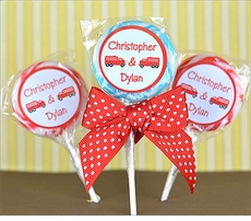 Firetrucks Birthday Twins<br>Personalized Lollipop Favors