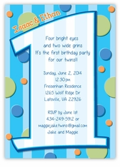 First Birthday Boy Twins Invitation