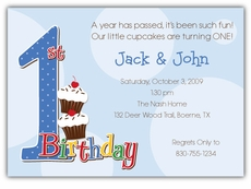 First Birthday Dots Boy Twins Invitation
