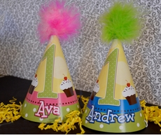 First Birthday Dots With CupcakesbrPersonalized Party Hats