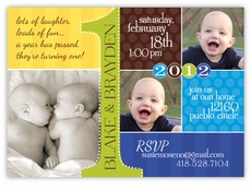 First Birthday Photo Collage Twin Boys Invitation