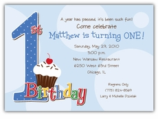 First Birthday Polka Dot Invitation For Boys