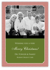 Gingham Classic Corporate Holiday Photo Card