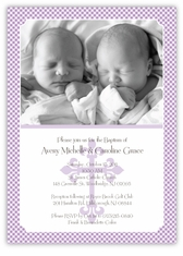 Gingham Classic Girl Boy Twin Baptism Invitation