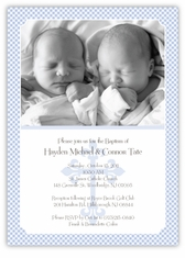 Gingham Classic Twin Boy Baptism Invitation