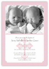 Twins baptism invitations gingham classic twin girl baptism invitation stopboris