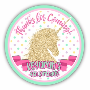 "Golden Unicorn Party Personalized 3"" Stickers"