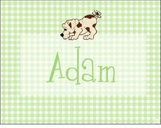 Green Gingham Puppy Note Cards