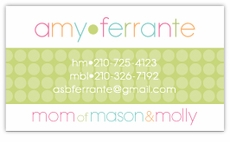 Green Metro Dots Calling Card