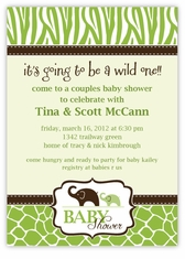 Green Wild Safari Baby Shower Invitation, matches theme from PartyCity.com
