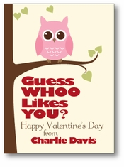 Guess Whoo Owl Personalized Valentine