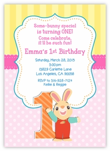 Harry the Bunny Birthday Party Invitation For Girls