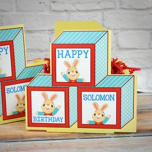 Harry the Bunny Party Pair of Personalized Mini Table Decorations ABC Blocks