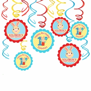 Harry the Bunny Party Hanging Spinners Decorations