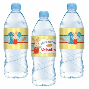 Harry the Bunny Personalized Water Bottle Label Stickers