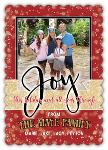 Holiday Shimmer Scalloped Edge Die Cut Photo Christmas Card<br>MORE COLORS AVAILABLE