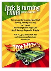Personalized Kids Birthday Cards Party Invitations Amys Card - Hot wheels birthday invitation how to make