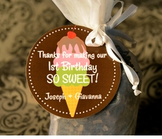 Ice Cream Party<br>Circle Personalized Favor Tags