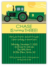 John Deere Green Tractor Birthday Personalized Invitations