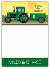 John Deere Tractor Twin Boys Thank You Note Card