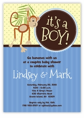 Little Monkey Baby Boy Shower Invitation