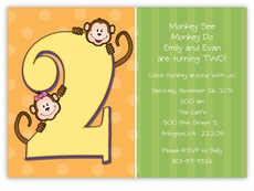 Mickey minnie twin first birthday party invitations amys card little monkeys girl boy twins second birthday invitation filmwisefo Gallery
