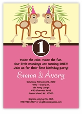 Mickey minnie twin first birthday party invitations amys card little monkeys girl twins birthday invitation filmwisefo Gallery