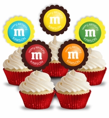 M&M's Party Personalized Cupcake Toppers