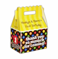 M&M's Party Personalized Gable Favor Box