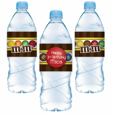 M&M's Party Personalized Water Bottle Label Stickers
