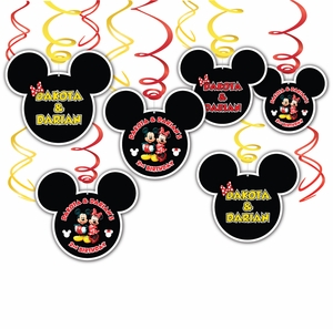 Mickey & Minnie Mouse Hanging Swirl Decorations