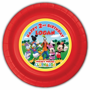 """Mickey Mouse Clubhouse Personalized Party Plates 9"""" Meal Size"""