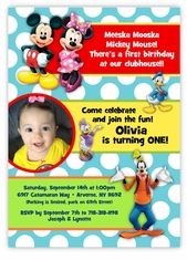 Mickey Mouse Friends Dots Photo Birthday Invitation