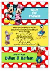 Mickey Mouse & Friends Twin Boys Pre-Printed Thank You Note Card