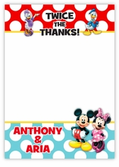 Mickey Mouse & Friends Twin Boys Thank You Note Card