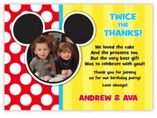Mickey Mouse Stripe Twin Boys Pre-Printed Photo Thank You Note Card