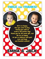 Mickey Mouse Twin Boys Pre-Printed Photo Thank You Note Card