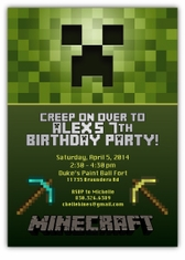 Minecraft Creeper Birthday Party Invitation