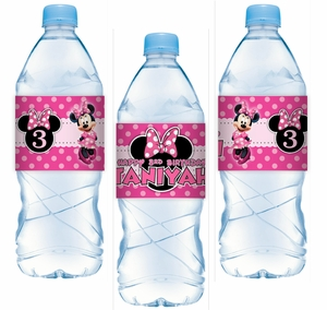 Minnie Mouse Pinky Dot Party Gable Adhesive Water Bottle Labels