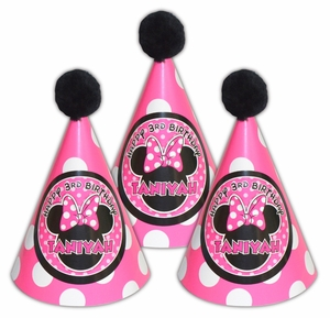 Minnie Mouse Pinky Dot Personalized Guest Party Hats