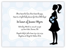 Mod Mama Triplet Boys Baby Shower Invitation