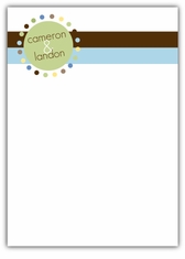 Mod Monogram Twin Boys Thank You Note Card