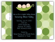 Mod Peas Dots Triplet Boys Baby Shower Invitation