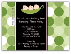 Mod Peas Dots Triplet Girls Baby Shower Invitation