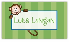 Monkey Stripes on Green Calling Card