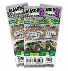 Monster Jam Grave Digger TruckbrEvent Ticket Style Birthday Personalized Invitations