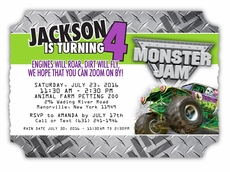 Monster Jam Grave Digger Personalized Die Cut Ticket Invitations